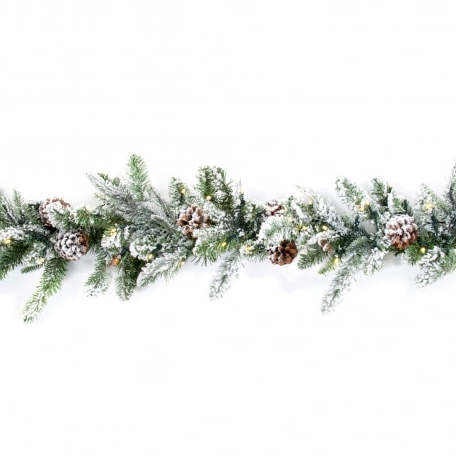 Premier Decorations 1.8m Flocked Garland with 60 Warm White LED's