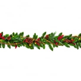 Premier Decorations 1.8m Pre-Lit Battery Operated Natural Garland with 30 Warm White White LED's and Timer Function