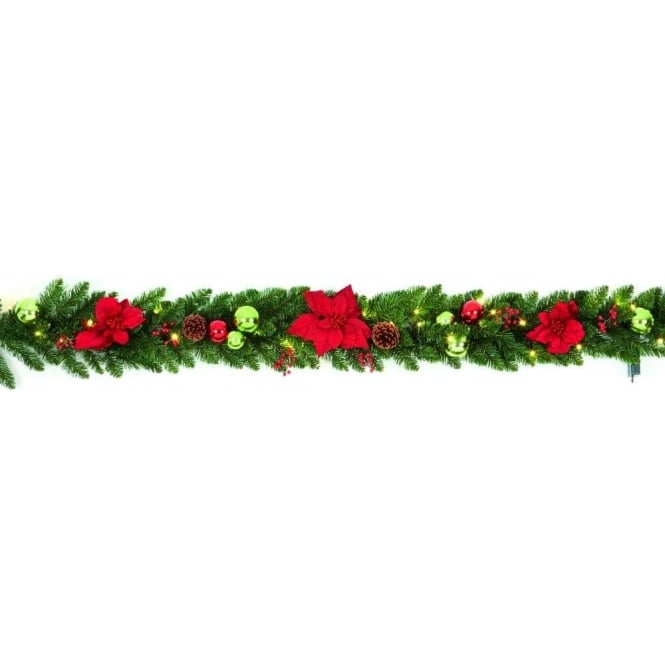 Premier Decorations 1.8m Pre-Lit Battery Operated Poinsettia Garland with Warm White LED's