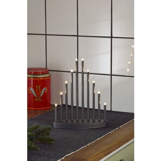 Konstsmide 10 Light LED Metal Welcome Light Candlestick In Anthracite Grey Lacquered Finish