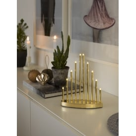10 Light LED Metal Welcome Light In Brass Lacquered Finish