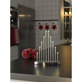 10 Light LED Metal Welcome Light Candlestick in Brushed Metal Finish
