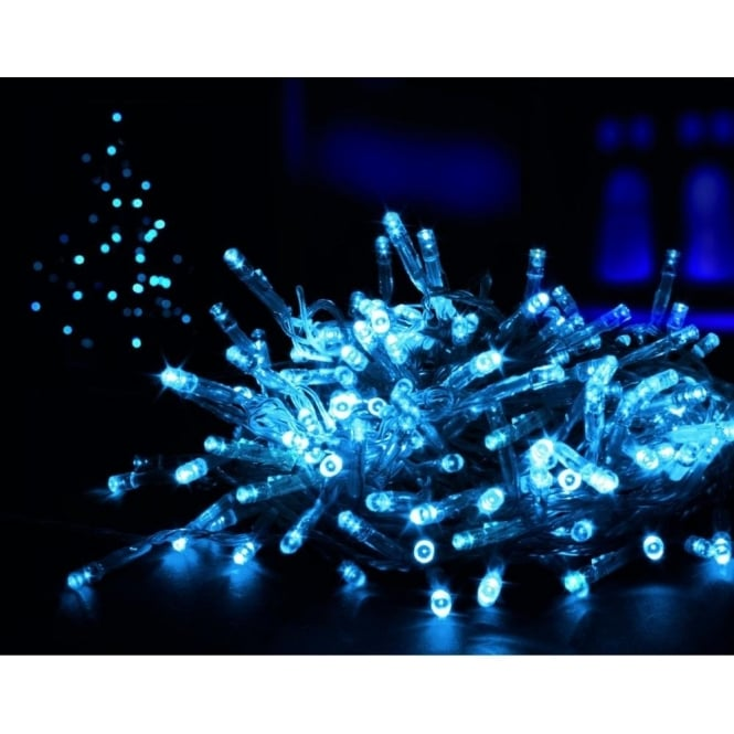 Premier Decorations 100 Blue LED Battery Operated Multi Action Lights With Timer