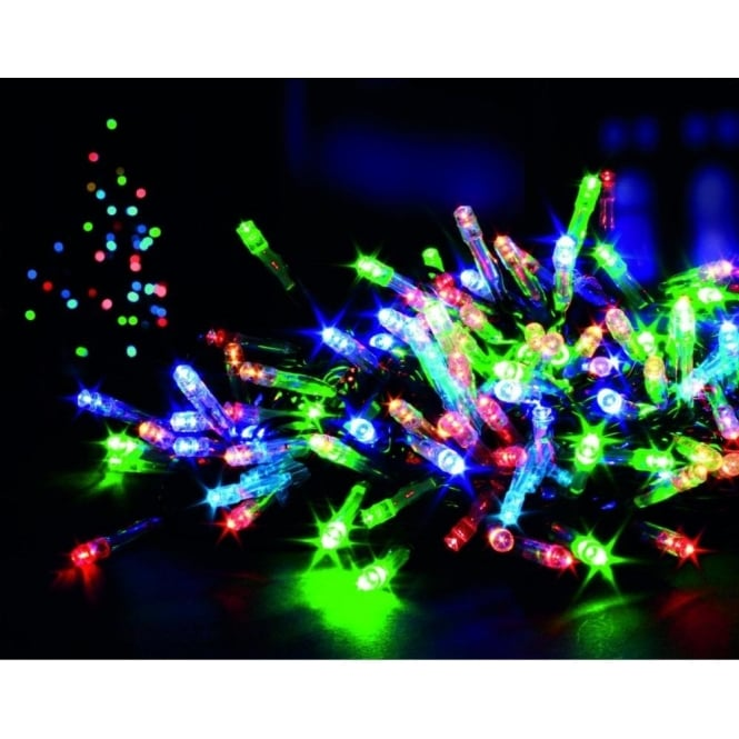 Premier Decorations 100 Multi Coloured LED Battery Operated Multi Action Lights with Timer
