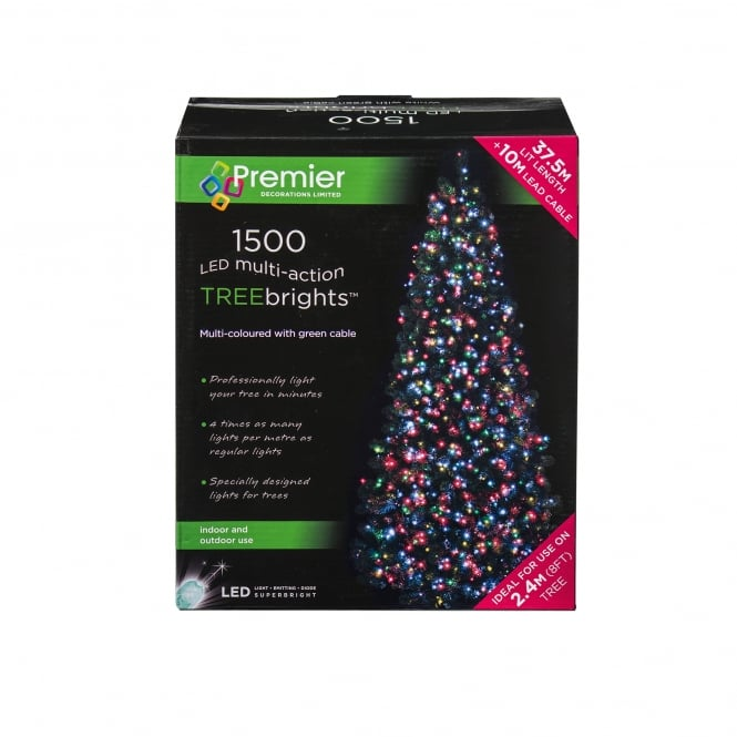 Premier Decorations 1500 Multi Coloured LED Treebrights with Multi Action Facility