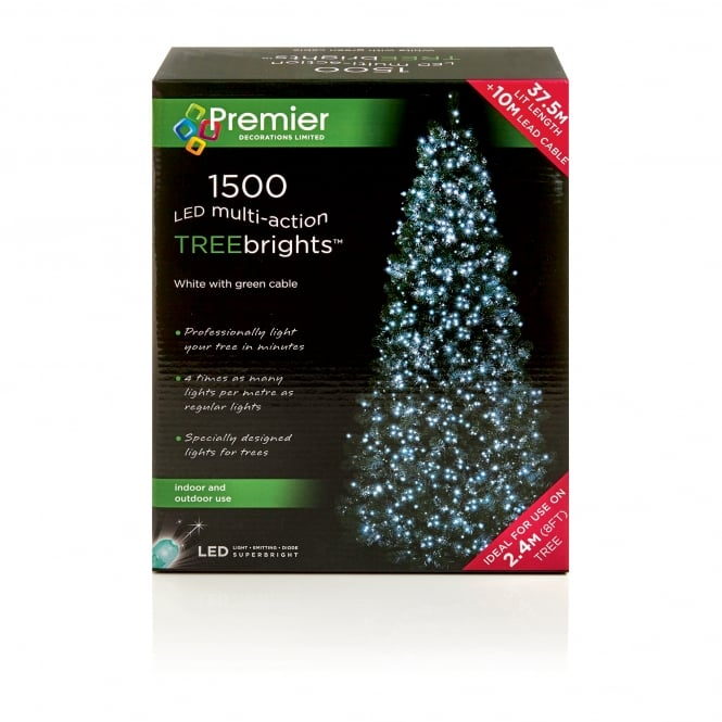 Premier Decorations 1500 White LED Treebrights with Multi Action Facility