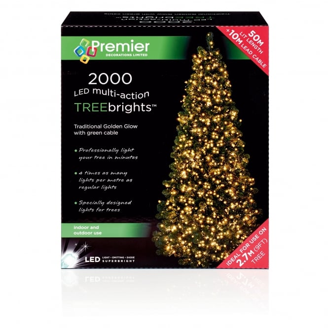 Premier Decorations 2000 Traditional Golden Glow LED Treebrights with Multi Action Facility