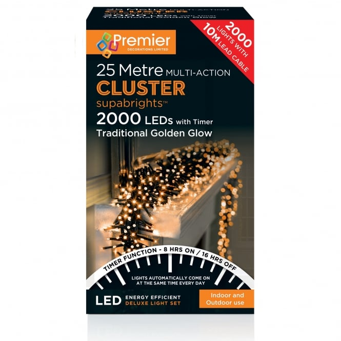 Premier Decorations 25m Cluster Multi Action Supabrights with 2000 Traditional Golden Glow LED's