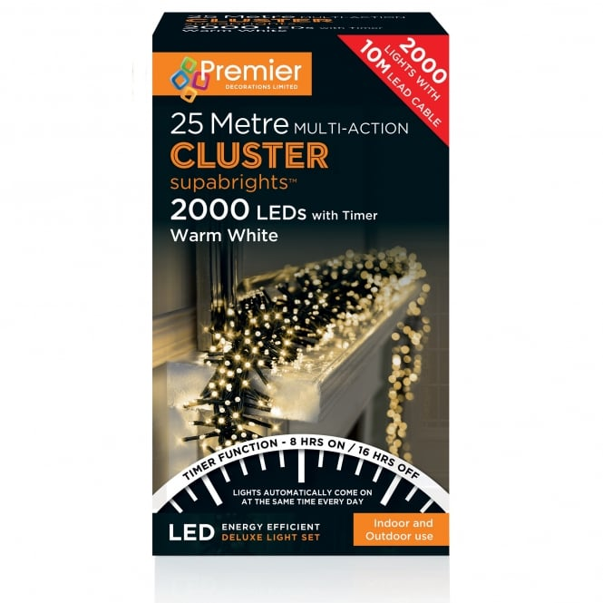Premier Decorations 25m Cluster Multi Action Supabrights with 2000 Warm White LED's