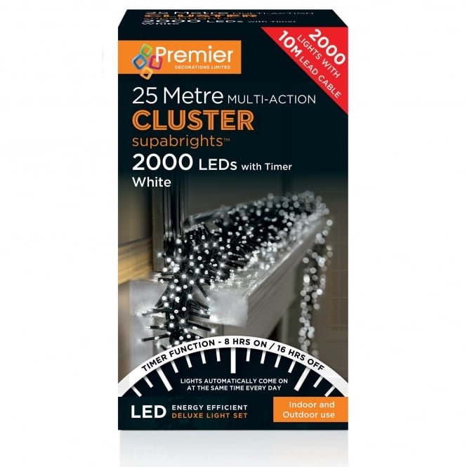 Premier Decorations 25m Cluster Multi Action Supabrights with 2000 White LED's