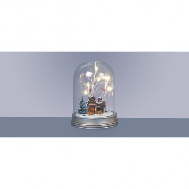 Premier Decorations 29cm Battery Operated Lit Glass Dome with Cabin Christmas Scene