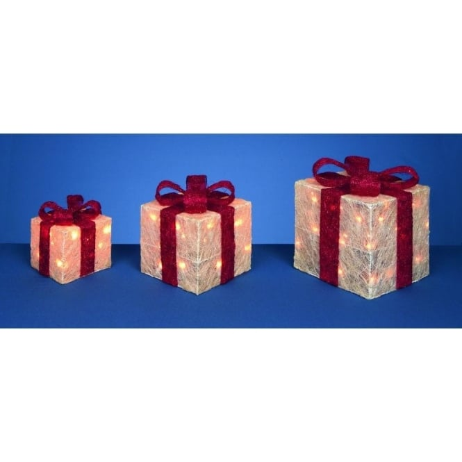 Premier Decorations 3 LED White Glitter Parcels With Red Bow Detail