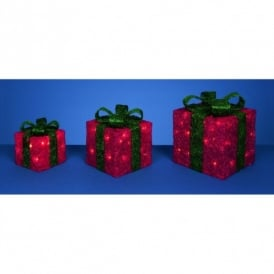 3 Red Glitter Parcels With Green Bow And 40 White LED's