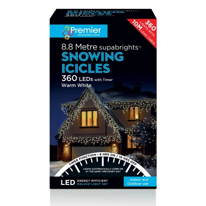 Premier Decorations 360 Warm White LED Snowing Icicle Lights
