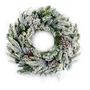 Premier Decorations 60cm Flocked Wreath with 50 Warm White LED's