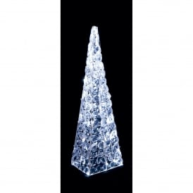 Premier Decorations 60cm White LED's Twinkling Acrylic Pyramid