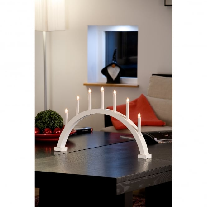 Konstsmide 7 Light Arched Large Welcome Light with White Finish