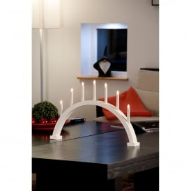 7 Light Arched Large Welcome Light with White Finish