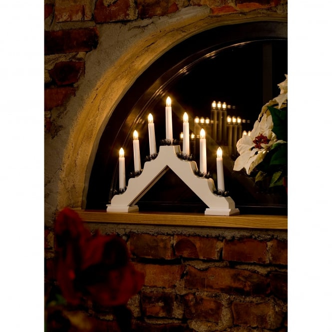 Konstsmide 7 Light Candle Bridge Welcome Light In White Finish