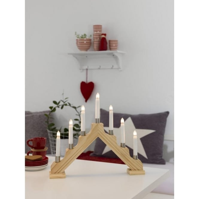 Konstsmide 7 Light Candlestick Welcome Light In Natural Wood Finish