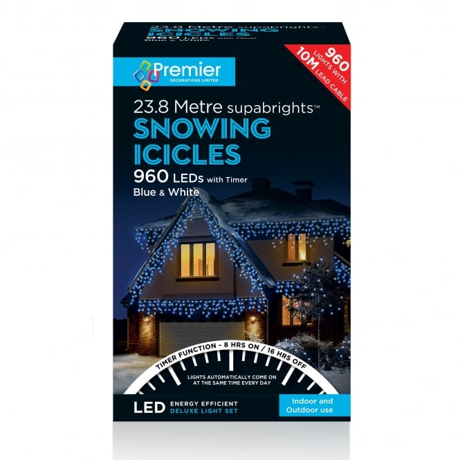 Premier Decorations 960 Blue & White LED Snowing Icicle Lights