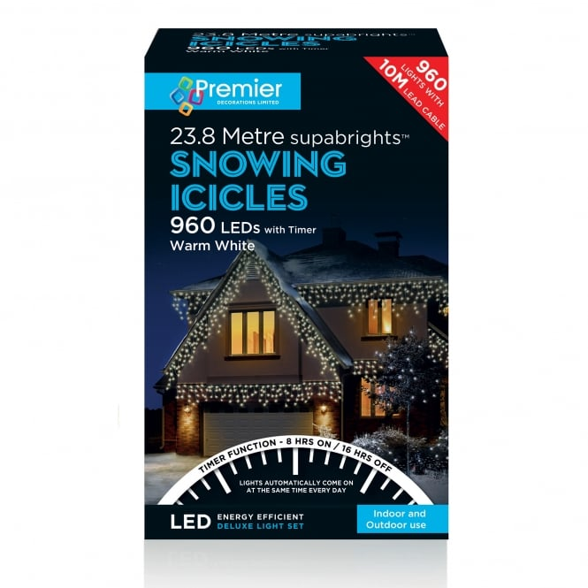 Premier Decorations 960 Warm White LED Snowing Icicle Lights