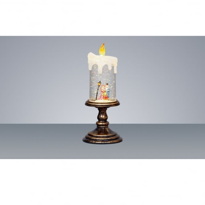Premier Decorations Battery Operated Christmas Choir Water Glitter Candle with Yellow Led