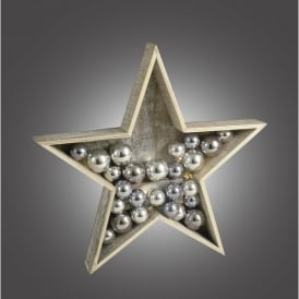 Battery Operated LED Wooden Star with Silver Baubles