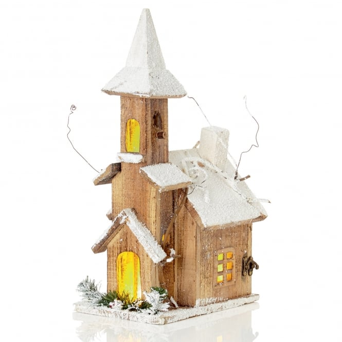 Premier Decorations Battery Operated Nordic Wooden Church with Warm White LED's