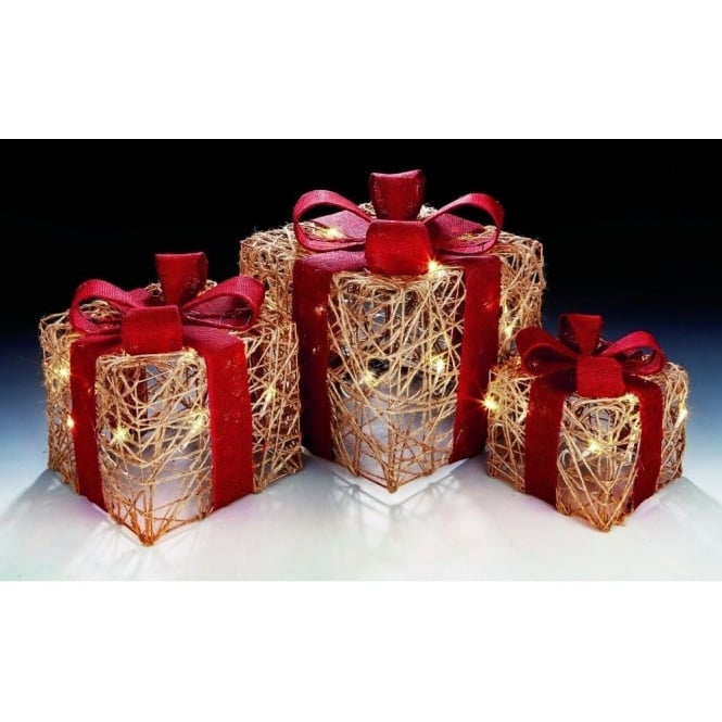 Premier Decorations Battery Operated Set of 3 Natural Jute Parcel  Decorations