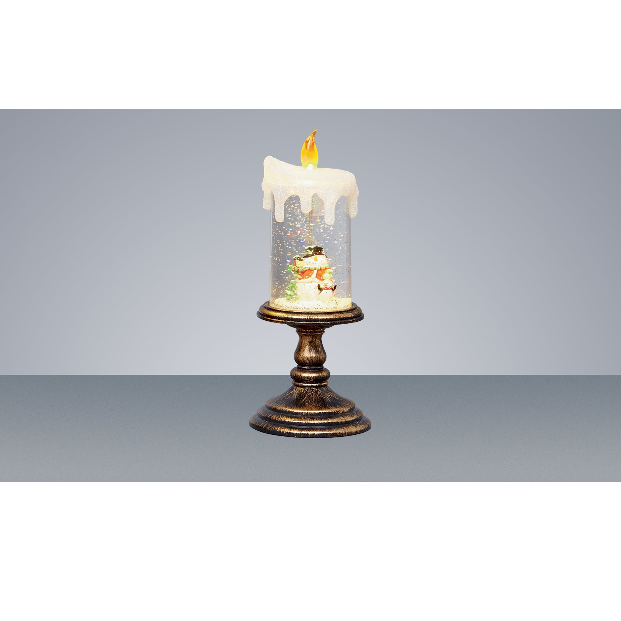 Premier Decorations Battery Operated Snowman Water Glitter Candle With Yellow Led Indoor From Lights At Christmas Uk