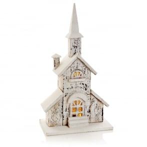 Premier Decorations Battery Operated Snowy Wooden Church with Warm White LED's