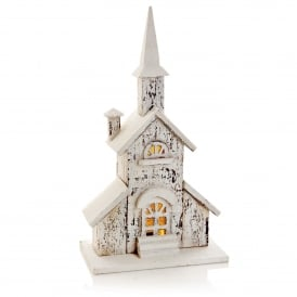 Battery Operated Snowy Wooden Church with Warm White LED's