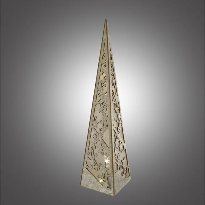 Dar Lighting Battery Operated Large Wooden Pyramid with LED