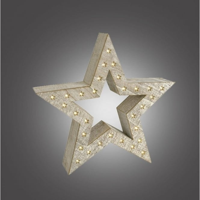 Dar Lighting Battery Operated Led White Wooden Star Indoor From