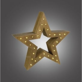 Battery Operated LED Wooden Star with Brown Finish