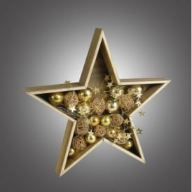Dar Lighting Battery Operated LED Wooden Star with Gold and Copper Baubles