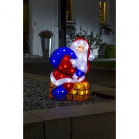 Festive Acrylic Santa And Chimney Figure With White LED's