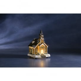 Konstsmide Fibre Optic Snowy Scene Church Christmas Decoration