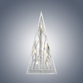 Dar Lighting Grey Washed Wooden Pyramid Tree with Warm White LED's