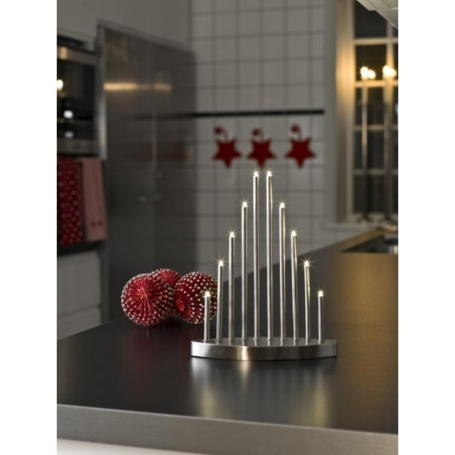 Konstsmide 10 Light LED Metal Welcome Light Candlestick in Brushed Metal Finish