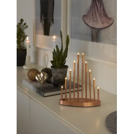 10 Light LED Metal Welcome Light In Copper Lacquered Finish