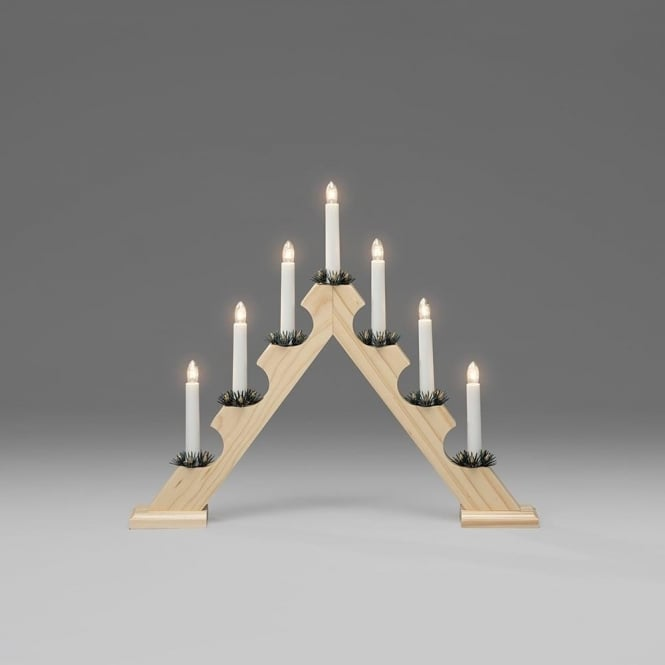 Konstsmide Konstsmide 7 Light Candle Bridge Welcome Light In Natural Stained Wood Finish