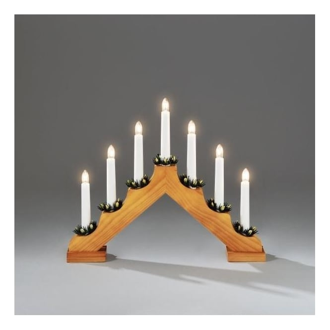 Konstsmide 7 Light Candle Bridge Welcome Light In Oak Stained Wood Finish