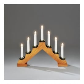 7 Light Candle Bridge Welcome Light In Oak Stained Wood Finish
