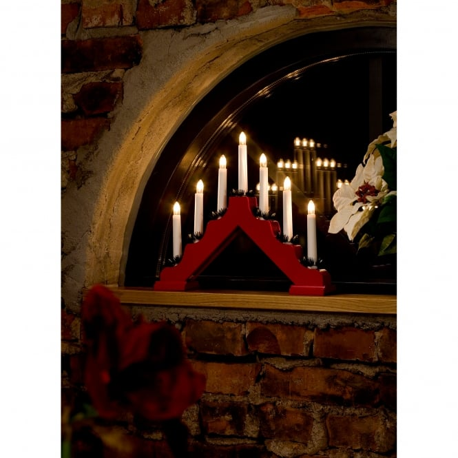 Konstsmide 7 Light Candle Bridge Welcome Light In Red Finish