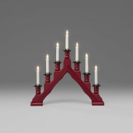 Konstsmide 7 Light Candle Bridge Welcome Light In Red Lacquered Wood Finish