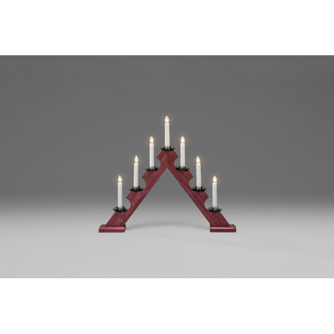 Konstsmide Konstsmide 7 Light Candle Bridge Welcome Light In Red Stained Wood Finish