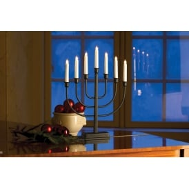 Konstsmide 7 Light Candlestick in Black Lacquered Metal Finish
