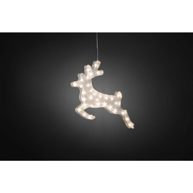 Konstsmide Acrylic Reindeer With Star Effect Design And 32 Warm White LED's